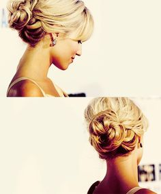 Twisted bun updo.