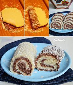 Kókuszos tekercs - főzött krémmel Hungarian Recipes, Hungarian Food, French Toast, Birthday Cake, Sweets, Baking, Breakfast, Cakes, Dios