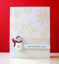 Winter Snowman Card by Cristina Kowalczyk for Papertrey Ink (September Simple Christmas Cards, Christmas Card Crafts, Xmas Cards, Holiday Cards, Card Making Inspiration, Making Ideas, Simple Card Designs, Snowman Cards, Card Patterns