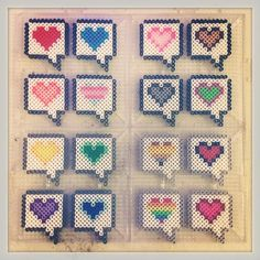 Heart pins perler beads by strider_sc Perler Bead Templates, Diy Perler Beads, Perler Bead Art, Pearler Beads, Fuse Beads, Melty Bead Patterns, Hama Beads Patterns, Beading Patterns, Iron Beads