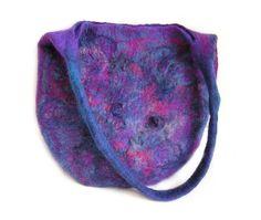 Felted Bag Felt Handbag Wool Purple Violet  Blue Navy blue pink boho OOAK