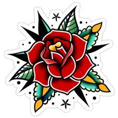 Traditional Tattoo Flowers, Traditional Tattoo Old School, Traditional Roses, Traditional Tattoo Design, American Traditional, Body Art Tattoos, Sleeve Tattoos, Tatoos, Tatuagem Old Scholl