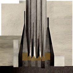 Beniamino Servino. Rilievo Fotografico della Cattedrale con Torre Campanaria di Hugh Ferriss. ... Photographic Survey of the Cathedral with Bell Tower by Hugh Ferriss.