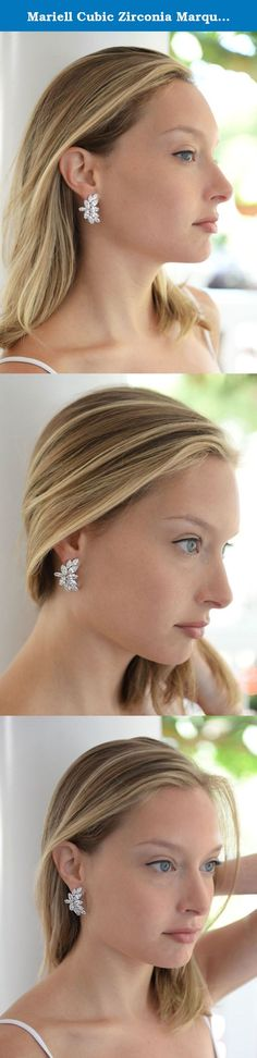 Mariell Cubic Zirconia Marquis Cluster Bridal or Fashion Graceful Curved Clip-On Earrings. Make an unforgettable grand entrance wearing these brilliant clip on Cubic Zirconia earrings by Mariell. With a graceful curved silhouette, these best-selling CZ earrings beautifully frame the face with a shimmering glow of marquis clusters. Add couture designer styling to bridal, mother of the bride, bridesmaids, pageant or cocktail dress wearing these exclusive Mariell signature clip earrings. We...
