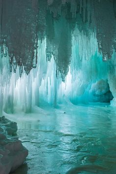 The rigid and jagged formation of the ice in this cave is interesting and beautiful.