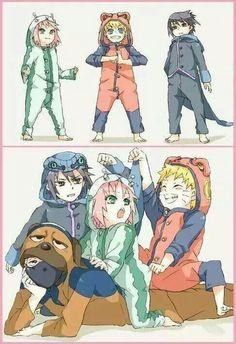 Team 7 - Naruto, Sasuke, Sakura and Kakashi Naruto Team 7, Naruto Shippuden Sasuke, Naruto Kakashi, Anime Naruto, Naruto Comic, Boruto, Naruto Cute, Naruto Sasuke Sakura, Hinata