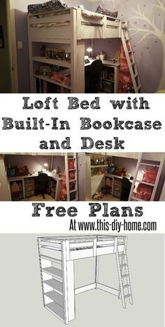 FREE PDF PLANS - www.this-diy-home.com - Loft bed with Built in Bookcase and desk