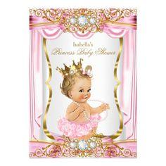 303 best princess baby shower invitations images on pinterest in blonde girl princess baby shower pink silk gold invitation filmwisefo