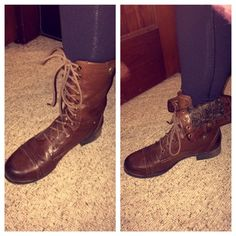 Combat boots (two styles) Perfect condition! They can be worn two different ways! Darker brown/grey on the inner layer. Madden Girl Shoes Combat & Moto Boots