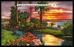 Vintage Daytona Beach Florida Postcard Sunset Waterfront by hhm224, $3.00