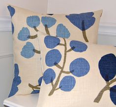 Blue Floral Throw Pillow Cover Blue & White by CottagePixie, $30.00