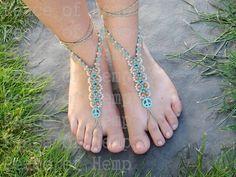 Hippie Hemp Barefoot sandals / toe thongs by PeaCeofHemp on Etsy https://www.etsy.com/listing/235085967/hippie-hemp-barefoot-sandals-toe-thongs
