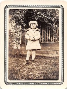 Photograph Snapshot Vintage Black & White: Girl Coat Yard Smile Cute 1930's