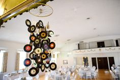 Chandelier made of records & a bicycle wheel.