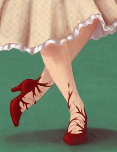 imavo:    This is a book cover assignment I did for the fairy tale, the red shoes. Don't know how I feel about it yet.