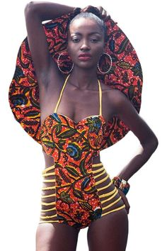African Inspired Strappy Cutout Printed Monokini