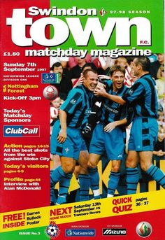 Swindon 0 Nottm Forest 0 in Sept 1997 at the County Ground. The programme cover Nottingham Forest, Stoke City, Football Program, 1990s, Cover