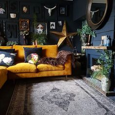 """Maybe dark walls if you have big open window. Maybe it will make the outdoors """"pop"""". And not be to dark inside. Maybe dark walls if you have big open window. Maybe it will make the outdoors """"pop"""". And not be to dark inside. Living Room Bar, Dark Living Rooms, Living Room Furniture, Living Room Designs, Dark Rooms, Living Room Warm Colors, Living Room Wall Decor Ideas Above Couch, Gothic Living Rooms, Dark Furniture"""