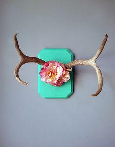 Deer antlers with flowers. by NodakRose on Etsy