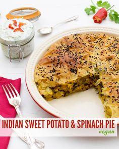 IIndian Sweet Potato & Spinach Pie with Raita [vegan] by The Flexitarian