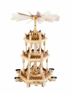 3 st ckige pyramide unbest ckt wei gold 51 cm weihnachtspyramiden gold und rechnung. Black Bedroom Furniture Sets. Home Design Ideas