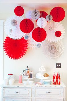Party decorations  betsyscheesestraws.com Christmas Party Theme For Adults, Christmas Party Backdrop, Christmas Party Table, Office Christmas Party, Xmas Party, Diy Party, Holiday Parties, Red Party Decorations, Paper Fan Decorations