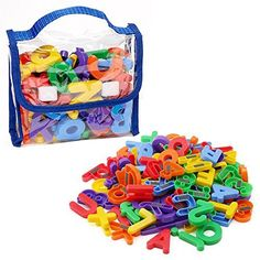 Edukid Toys Magnetic Letters & Numbers 72 Pcs Educational Magnets in Tote for sale online Teaching Letter Recognition, Teaching Letters, Preschool Letters, Learning The Alphabet, Preschool Kindergarten, Learning Toys For Toddlers, Fun Games For Kids, Kids Learning Activities, Alphabet Activities
