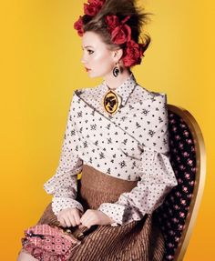 Mia Wasikowska for Miu Miu Spring 2012 Campaign by David Sims  ~~~  The cameos and mix of prints are particularly appealing.