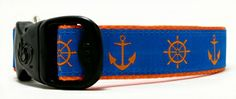 Orange Objects On Blue   Coastal First Mate Sailor Dog Collars