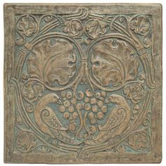 Batchelder tile, large deeply carved tile with birds in foliage. Love the subtle blue. The carving is so ornate!