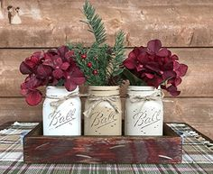 HOLIDAY Centerpiece Mason JARS in Wood Antique White or Red Tray with 3 Ball Pint Jar -Kitchen Table -Christmas Decor -Distressed Rustic -Florals (OPTIONAL) - Pine Berries Green Evergreens Flowers - Wedding table decor (*Amazon Partner-Link)