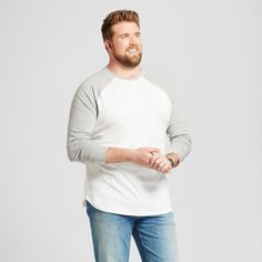 Men's Big & Tall Standard Fit Long Sleeve Baseball T-Shirt - Goodfellow & Co White 2XBT