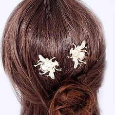 H-Quality Animal Insect Crown Bumble Bee Gold Tone Pair Hair Clip