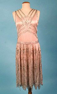Pink Satin Beaded Dress c. 1920s