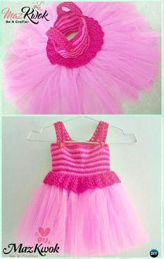 Crochet Pinky V Stitch Tutu Dress Free Pattern Instructions-Crochet Tutu Dress Free Patterns