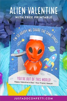 "Looking for an out-of-this-world classroom kid's valentine? Look no further! This ""I'm so happy we share the same space"" alien kids valentine printable is too fun to pass up! Print and attach a bottle of alien slime or alien toy for a unique and super cute valentine in minutes! Perfect for school and classroom parties since it's a non-food treat!"