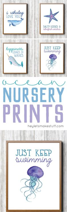 These ocean-themed prints are perfect for a baby shower, and then to hang in a nautical or under the sea nursery or little kid's room!