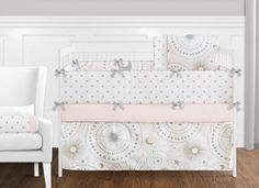 Shop this crib set featuring  stars and moons celestial themed print, with coordinating metallic gold star print, and solid blush pink and grey fabric. This collection uses the stylish colors of blush pink, metallic gold, grey and white. The design uses brushed microfiber fabrics that are machine washable for easy care. This wonderful set will fit most standard cribs and toddler beds. Girl Crib Bedding Sets, Girl Cribs, Crib Sets, Nursery Bedding, Baby Bedding, Dorm Bedding, Baby Nursery Decor, Nursery Ideas, Room Ideas