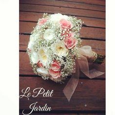 Babies breathe and blush. Wedding bouquet. White and blush and pink.