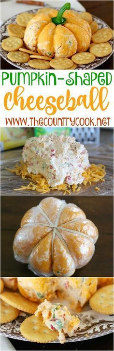 Pumpkin {Shaped} Cheese Ball recipe from The Country Cook. I took this to a get-together and everyone went nuts for it! They absolutely loved the way it looked and the way it tasted! Folks were taking pictures - ha! It's ranch and veggie flavored and so good and ridiculously simple!