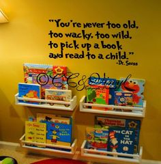 Dr Seuss Vinyl Decal by CountryCraftandVinyl on Etsy, $18.00 Love this for reading corner