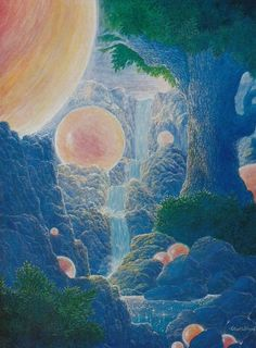 """retroscifiart: """"Gilbert Williams 'Valley of the Suns' Image from Celestial Visitations- The Art of Gilbert Williams """" Fantasy Landscape, Fantasy Art, Aesthetic Art, Aesthetic Pictures, 70s Sci Fi Art, Visionary Art, Retro Futurism, Psychedelic Art, New Wall"""