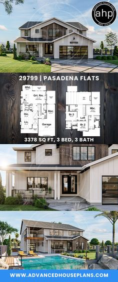 Our Pasadena Flats plan blends the classic farmhouse style with modern elements to create excellent curb appeal. House Plans 2 Story, Porch House Plans, 4 Bedroom House Plans, New House Plans, Rustic Houses Exterior, Modern Farmhouse Exterior, Dream House Exterior, Coastal Farmhouse, Farmhouse Style