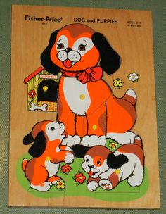 Vintage Fisher Price Wooden Peg Puzzles Toy Dog and Puppies 8 pieces # 511 Vintage Fisher Price, Preschool Toys, Puzzle Toys, Wooden Pegs, Vintage Children, Dog Toys, Kids Playing, Childhood Memories, Dogs And Puppies