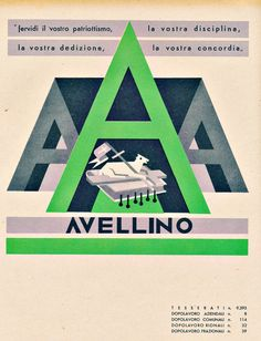 Fortunato Depero Italian), Avellino, From a series of coat of arms of Italian provinces. Typography Letters, Lettering, Italian Futurism, Futurism Art, Art Deco Illustration, Book And Magazine, Old Ads, Aviation Art, Advertising Poster