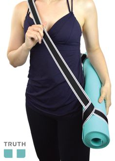 Carrying your yoga mat is easy with Truth Vegan YOGAbands! Use them for stretching too! Made in Canada. www.truthbelts.com $20.00