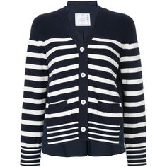 Sacai striped back pleat cardigan (£360) ❤ liked on Polyvore featuring tops, cardigans, blue, striped top, striped long sleeve top, v-neck cardigan, stripe top and v neck cardigan