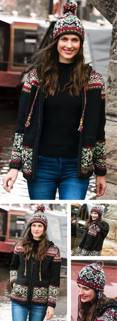 Hand knitted in fine wool this range has an intricate snowflake pattern, longer length jacket and a choice of hats. Hand made in Nepal, fairly traded by Namaste. Snowflake Pattern, Fair Trade, Nepal, Namaste, Hand Knitting, Bohemian, Punk, Range, Wool