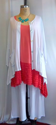 Coco and Juan Lagenlook Plus Size Coral with Ruffle Asymmetric Tank Top Size 1 Fits 1X,2X Bust to 51 inches