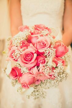 Bride's Bouquet: Pink Roses, Pink Gerbera Daisies, White Calla Lilies & White Baby's Breath (Gypsophila)